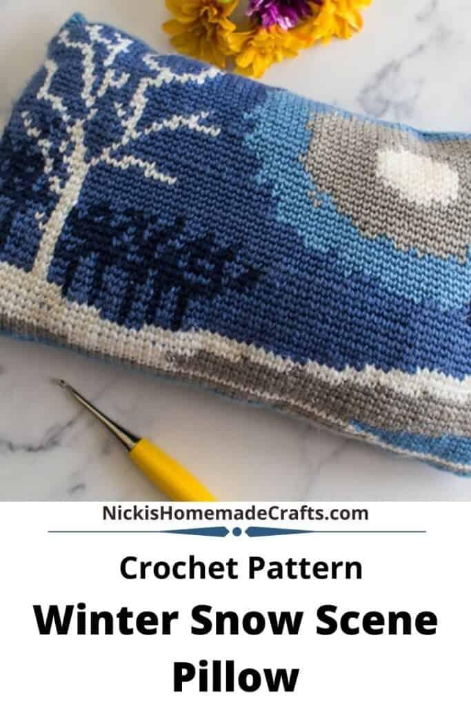 Winter Snow Scene Pillow - Free Crochet Pattern