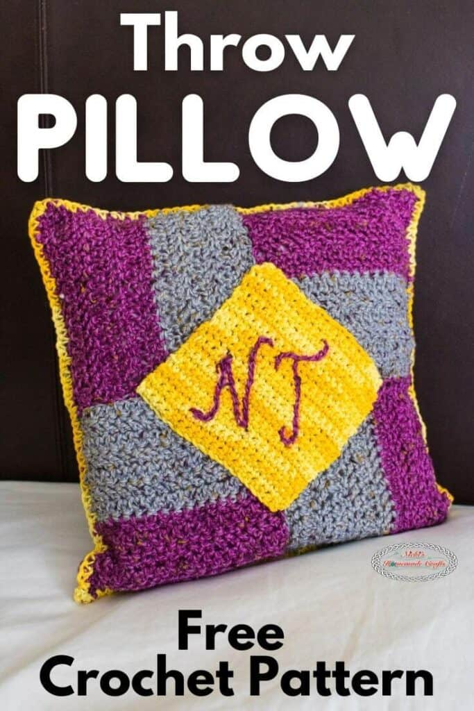 Crochet Throw Pillow with Wheel Pattern