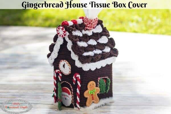 Crochet Gingerbread House Tissue Box Cover