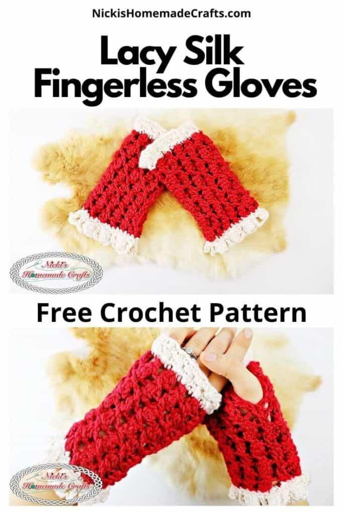 Crochet Lacy Silk Fingerless Gloves Pattern