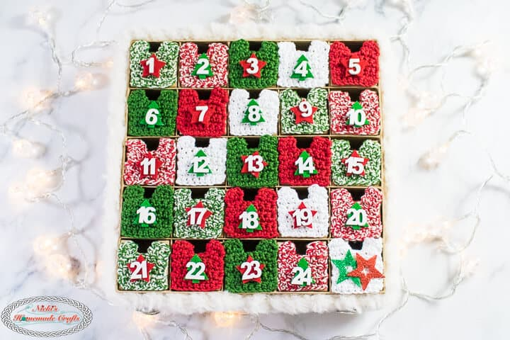 Crochet Advent Calendar with lights