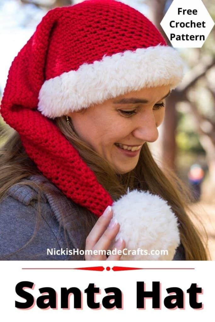 Santa Hat with Pom Pom Free Crochet Pattern Tutorial