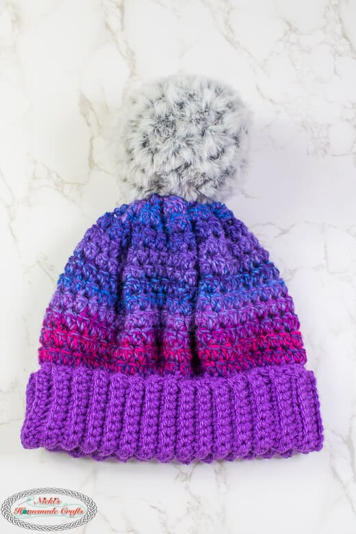 Brimmed Crochet Hat with Pom Pom