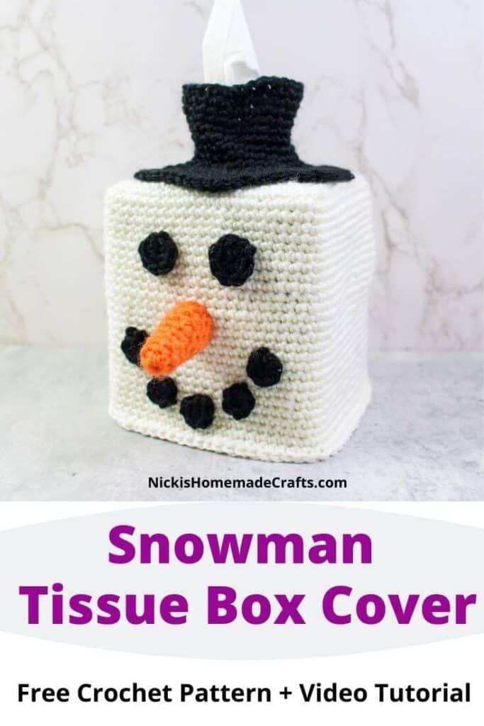 Crochet Snowman Head Tissue Box Cover
