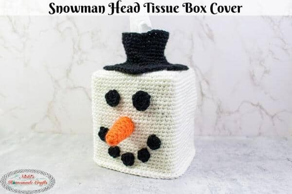 Snowman head Tissue Box Cover Free Crochet Pattern