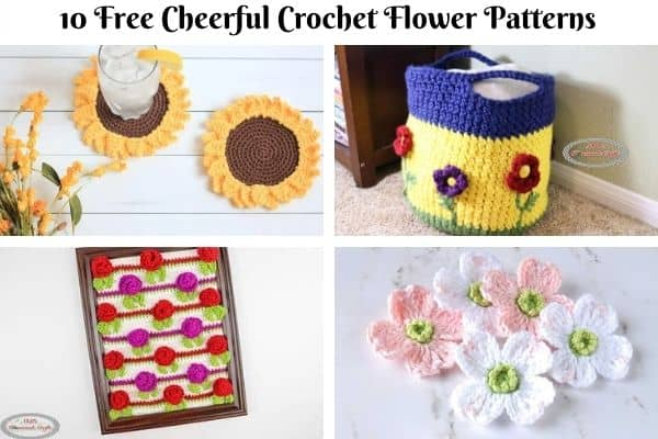 10 Free Cheerful Crochet Flower Patterns