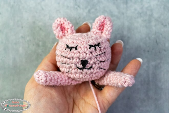 Crochet Kitty head with ears and arms