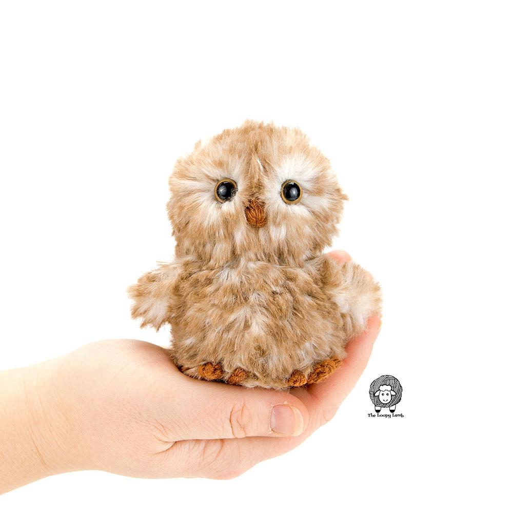 cute owl crochet toy pattern with faux fur yarn