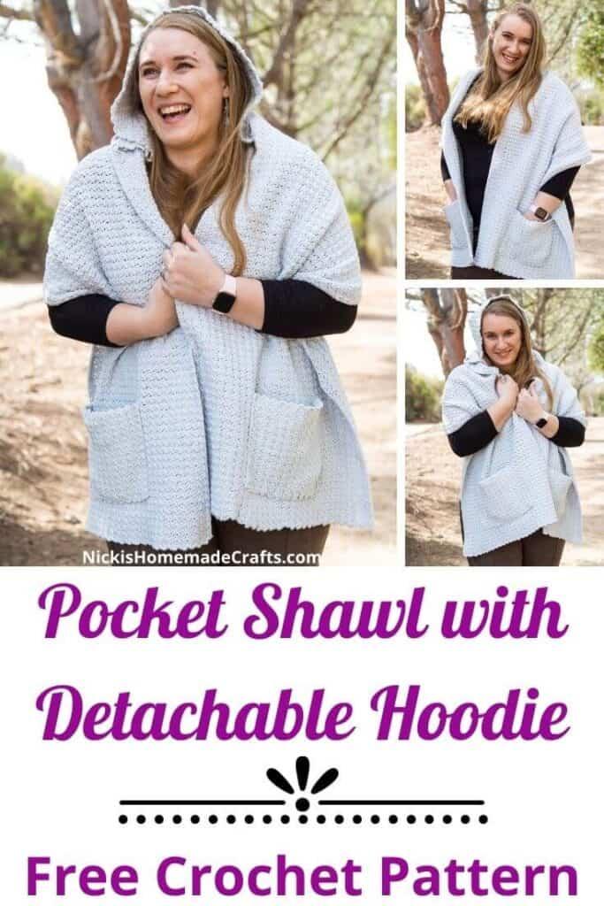 Crochet Pocket Shawl with Hoodie - Free Pattern