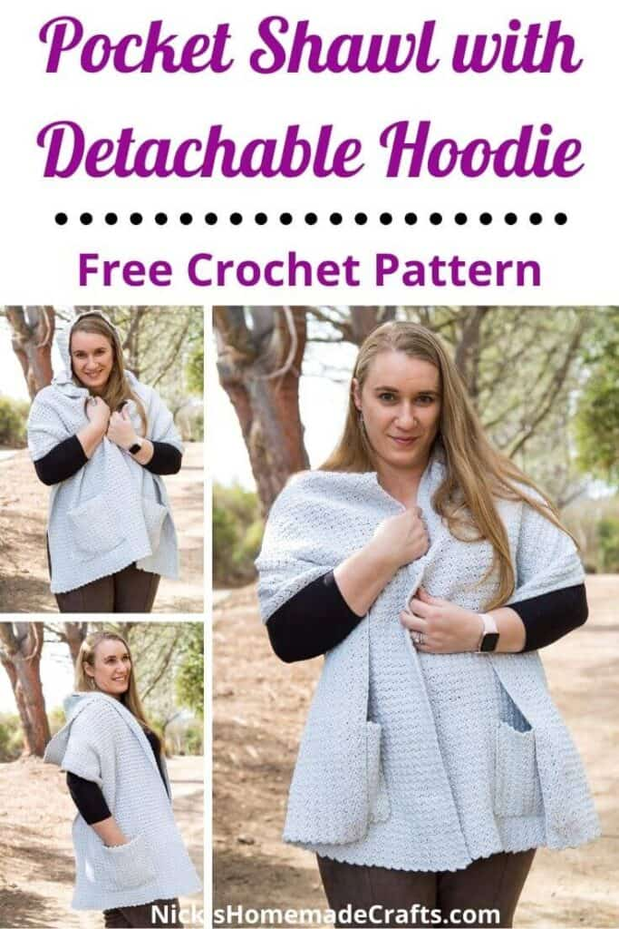 Crocheting a Pocket Shawl with Hoodie Free Pattern