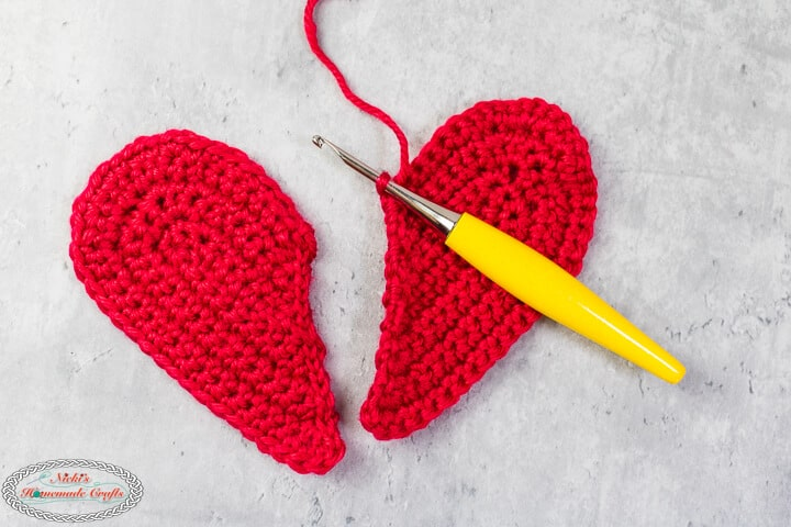 crochet two heart halves