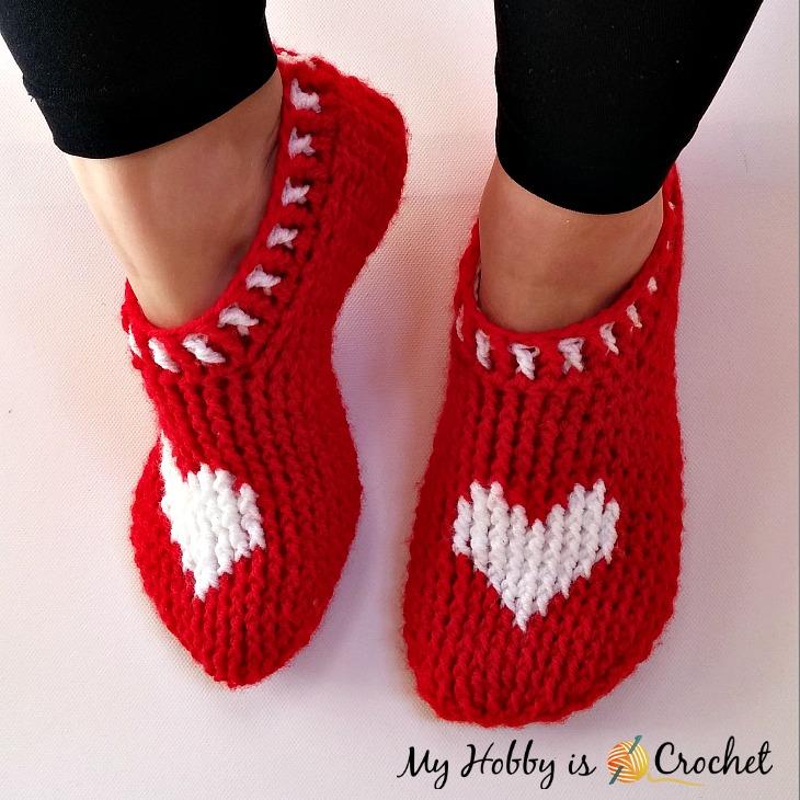 cozy Valentine's Day crochet slipper pattern