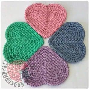 heart coasters quick Valentine's crochet pattern