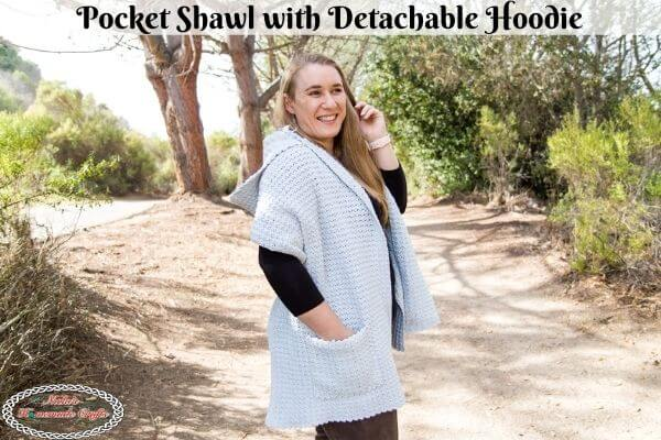 Stunning Crochet Pocket Shawl with Detachable Hoodie – Easy Free Pattern