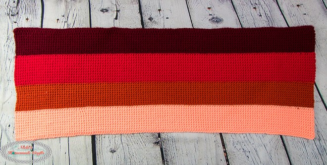 crochet ombre rectangle before using japanese folding method for origami