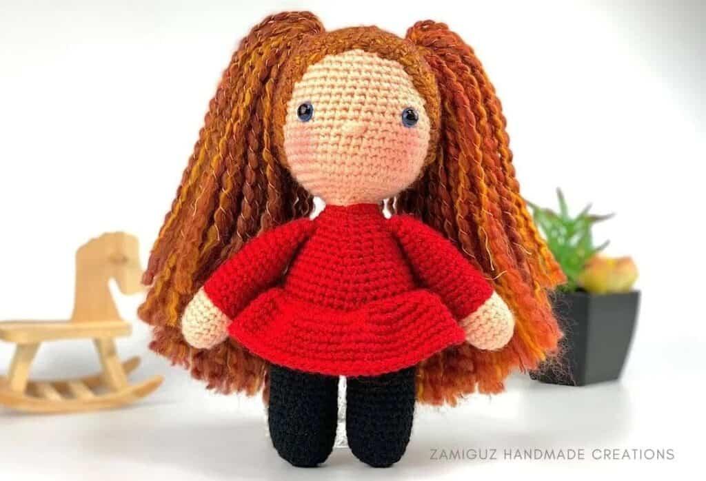 amigurumi crochet doll pattern in red dress