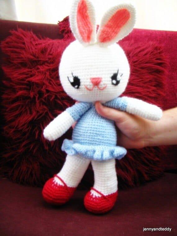 cute crochet bunny toy with ruffle dress