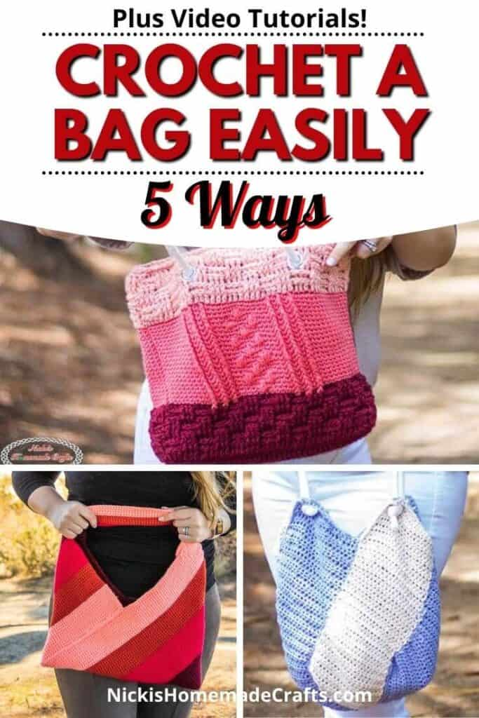 Crochet a Bag in 5 ways differently easily with patterns