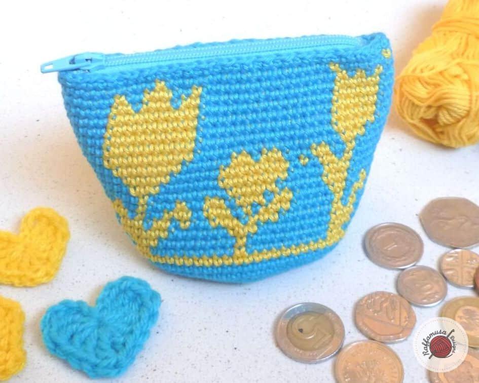 small flower crochet coin purse