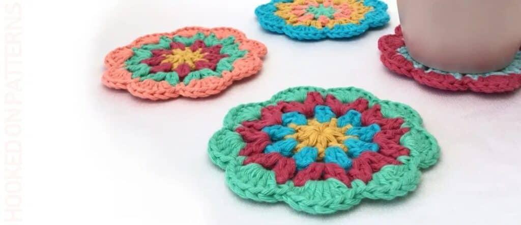 colourful mandala crochet coaster set