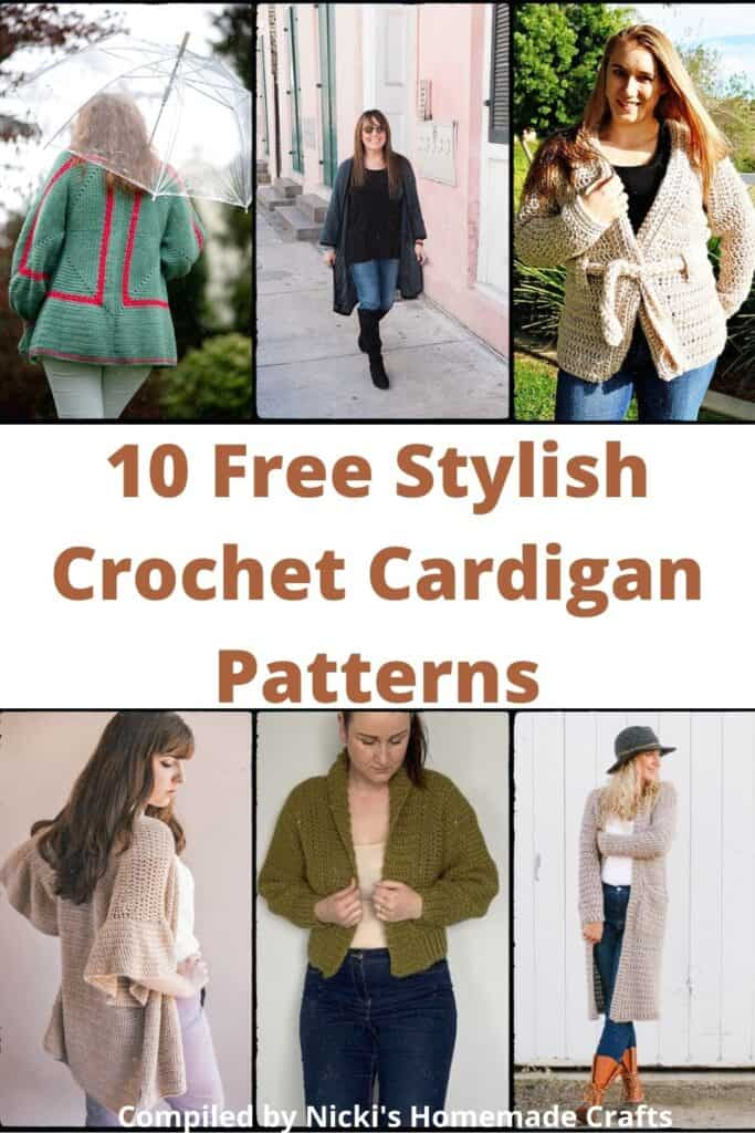 list of free crochet cardigan patterns