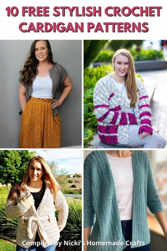 a collection of 10 Free Stylish Crochet Cardigan Patterns