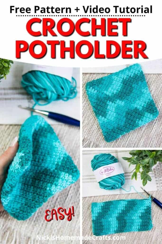 3 Crochet Potholders made double thick and diagonal