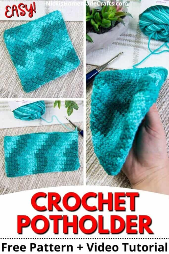 Crochet Potholder Free Pattern - Double Thick Diagonal plus video tutorial pin image