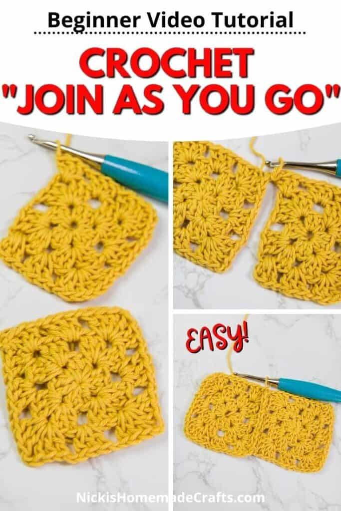 Crochet Tutorial for Join as you go - Blanket Granny Square Joining Method with Video