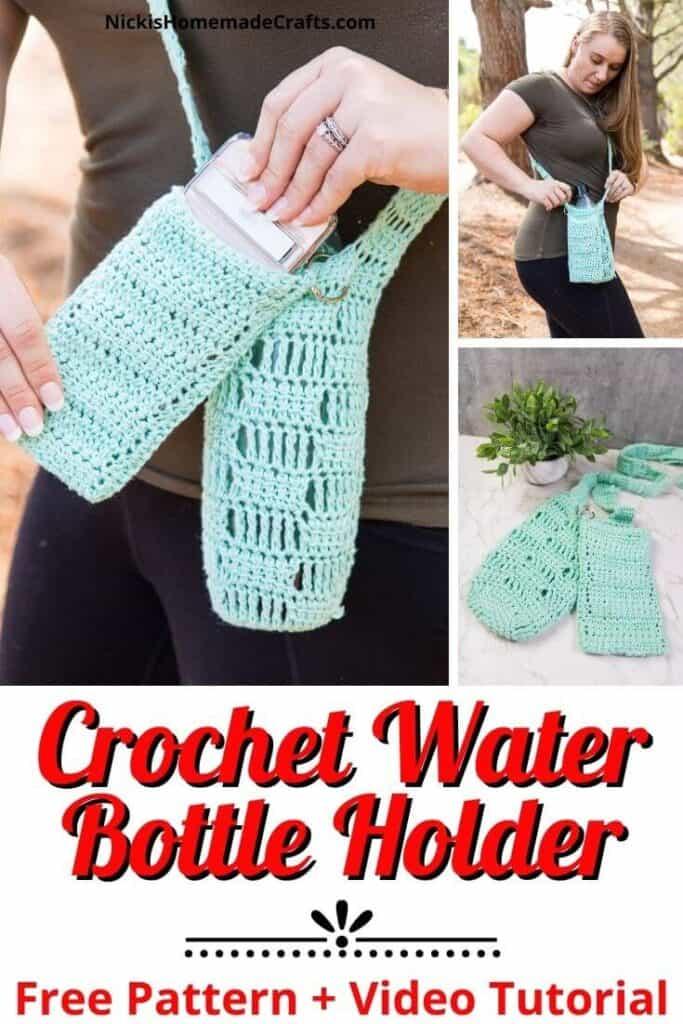 Crochet Water Bottle Holder with Phone Pocket Pattern