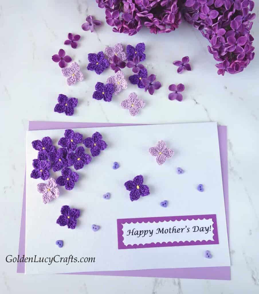lilac flowers crochet Mother's Day card handmade gift