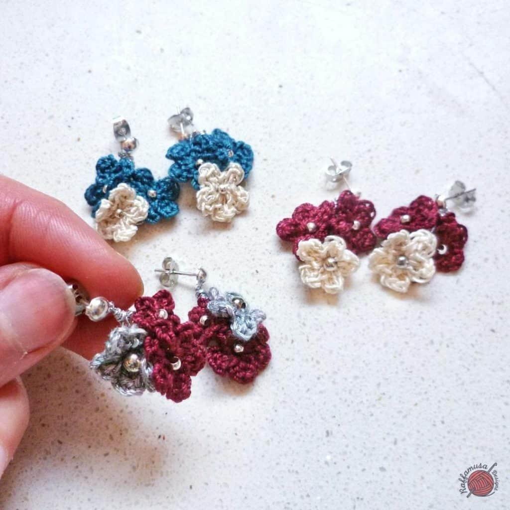 crochet flower ear rings gift set for Mother's Day