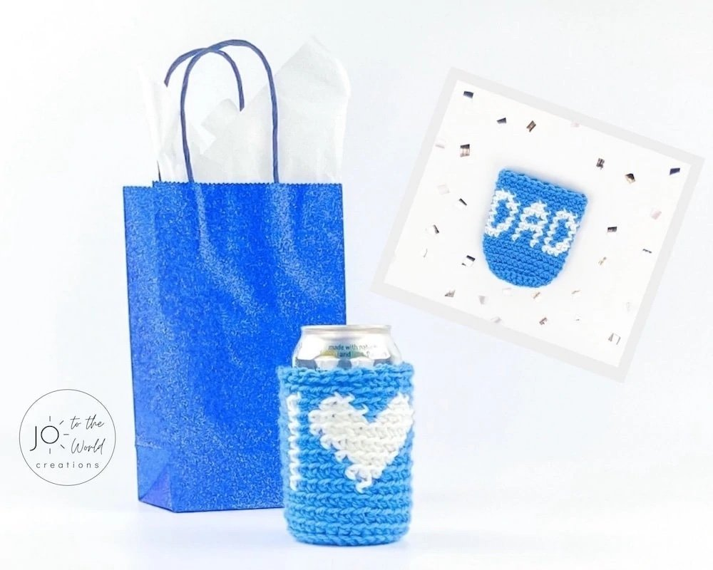 crochet beer can cozy gift for Father's Day