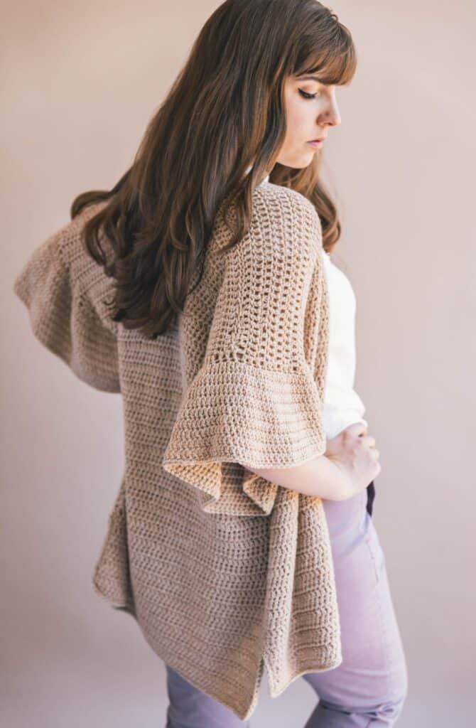 elegant cardigan with ruffled sleeves