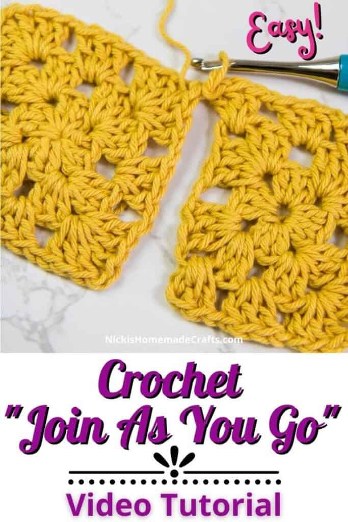 Join as you go Crochet Tutorial Blanket Granny Square Joining Method