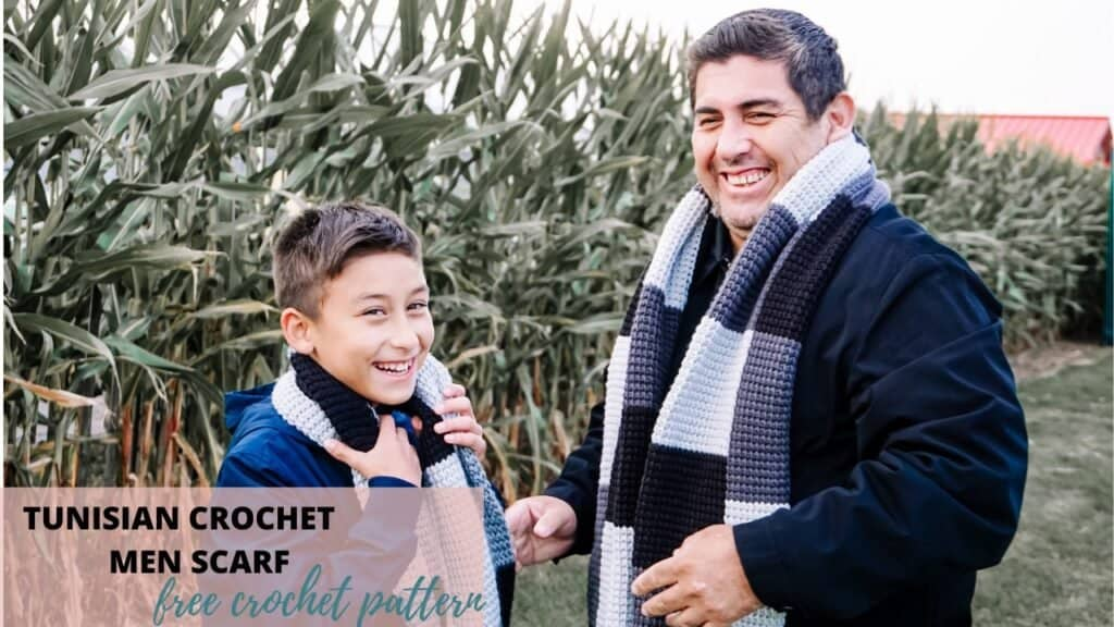 tunisian crochet scarf gift for Father's Day