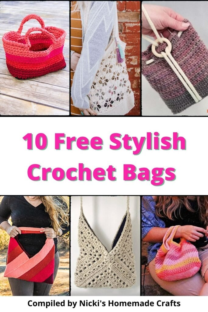 round up of 10 free crochet patterns for stylish bags