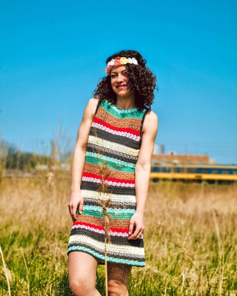 Summer of Love Crochet Dress Pattern with lost of hippy style colors