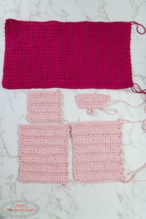 Crochet Pieces for Crochet Hook Case in pink and light pink