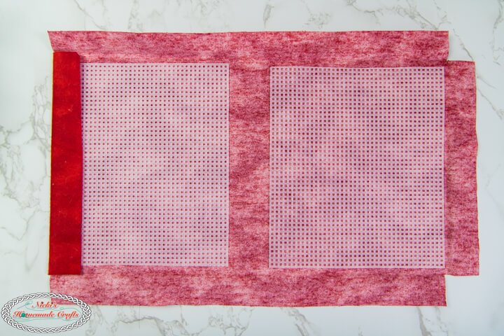 Plastic Canvas on cut red Fabric