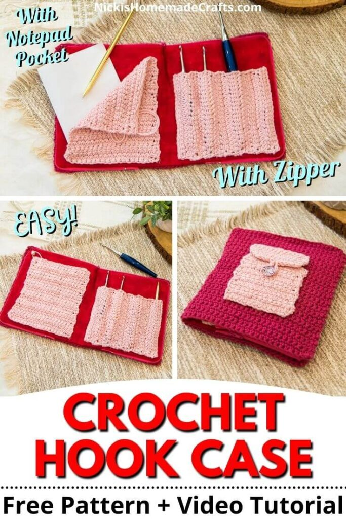 Crochet Hook Case with Zipper and Pocket Free Pattern with Video Tutorial