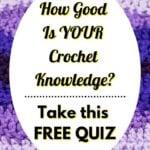 Crochet Knowledge Quiz with purple chevron