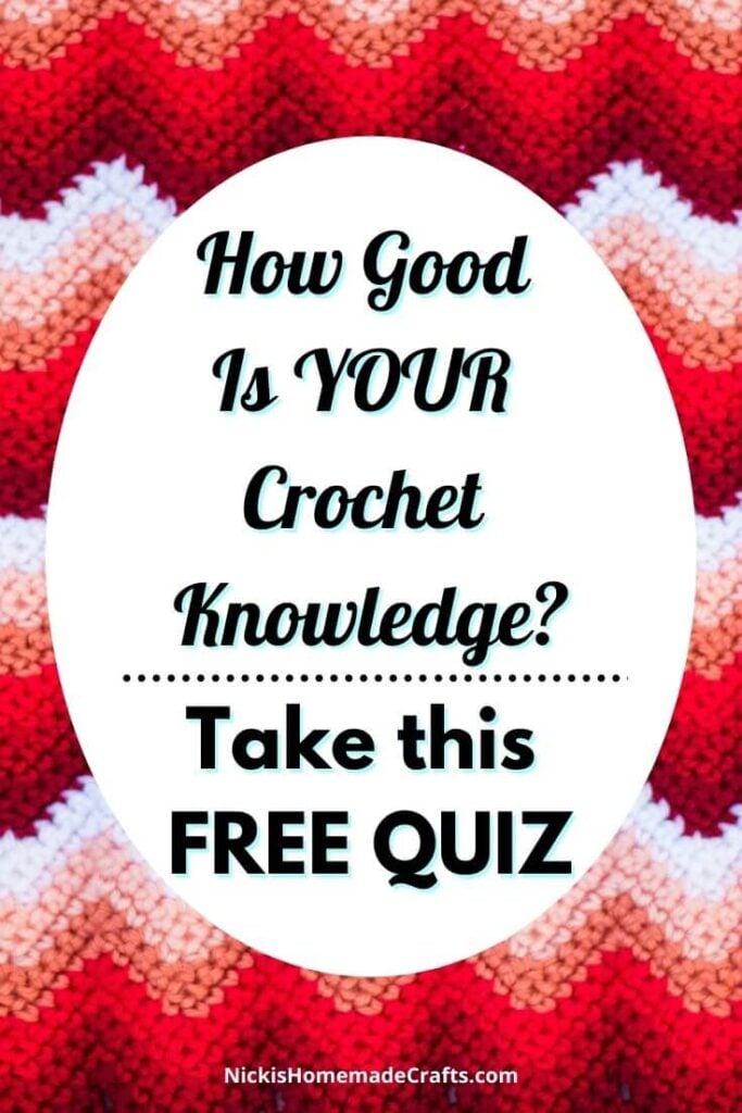 Crochet Knowledge Quiz with red chevron