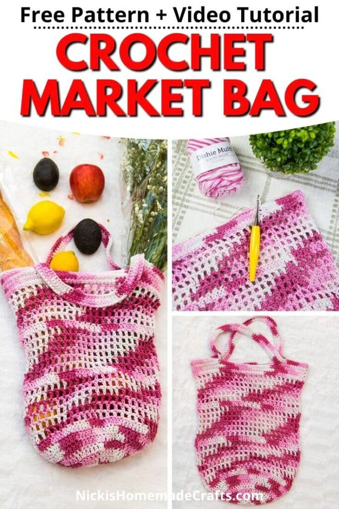 Crochet Market Bag Free Pattern with variegated pink yarn