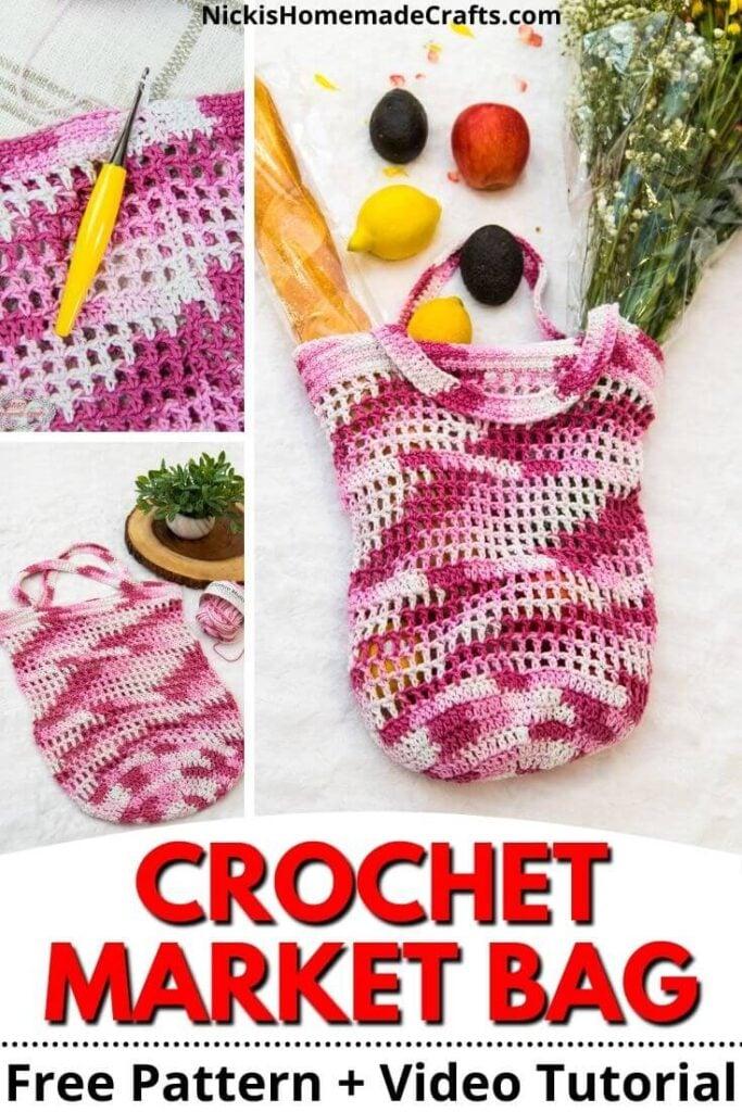 Pink Crochet Market Bag Pattern Pin