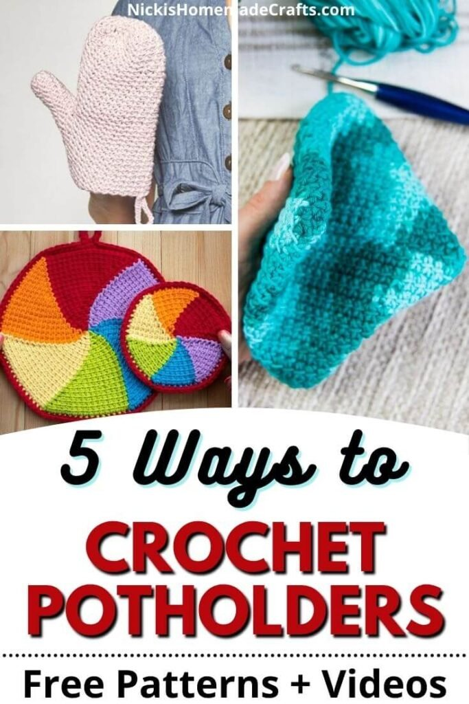 Crochet Potholder 5 ways and patterns with video