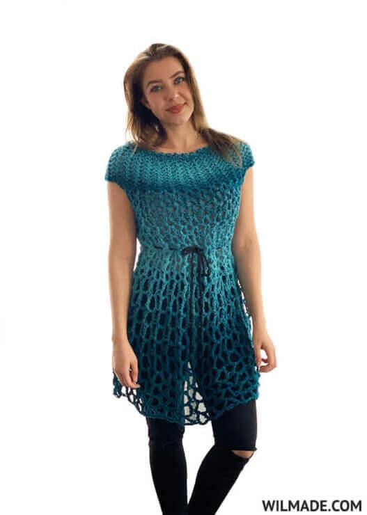 Crochet Poncho Summer Dress Pattern
