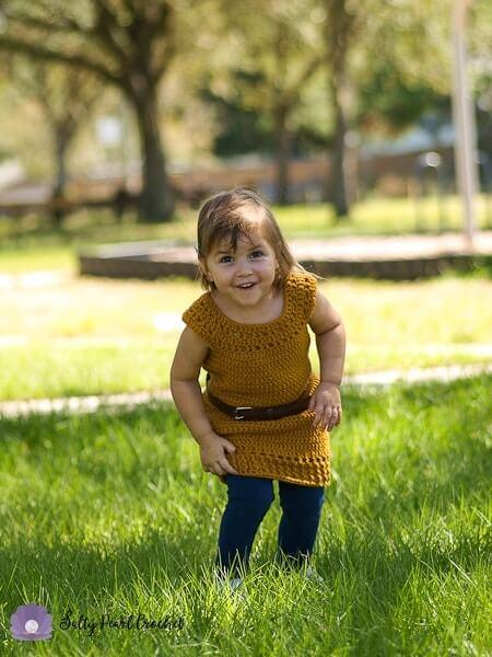 Dandelion Crochet Tunic Pattern worn by a cute girl