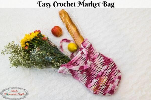 Crochet Market Bag with Baguette, fruit, and flowers