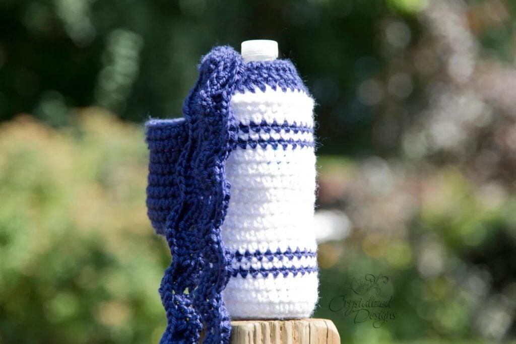 marker water bottle crochet cozy